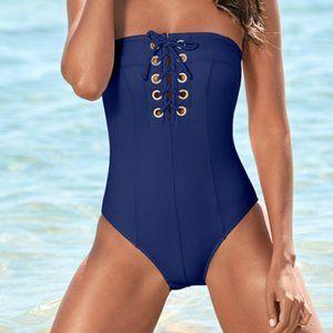 Venus Grommet lace up one piece swim suit plus